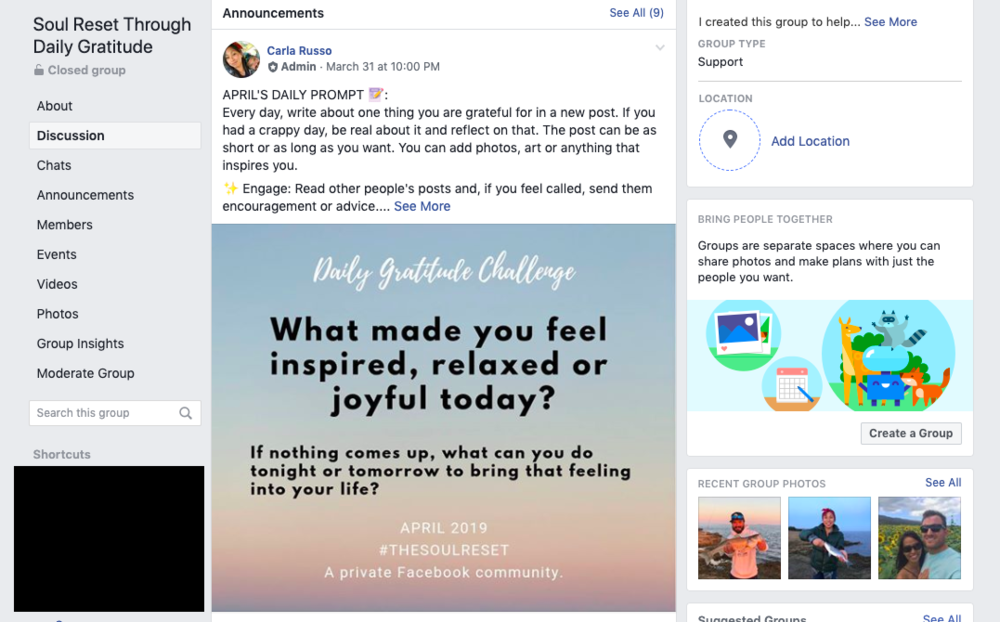 In my private Facebook group, we offer support and host challenges aimed at personal development and raising our energetic levels.