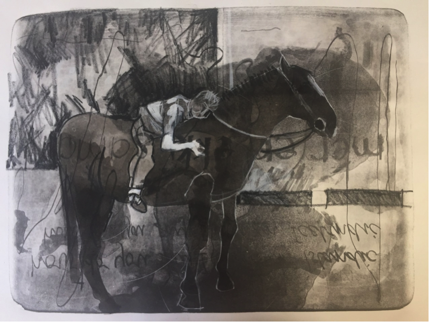 Boy on the Pony I and II, drawing on lithograph 2017