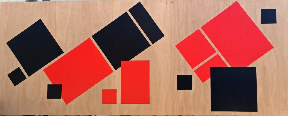 Following her Solo exhibition at Factory49, Ro continued to develop her red and black geometric series. #liddell acrylic mural on marine ply (five panels), 240x600cm, carpark of Look Printing, Albion Street Leichhardt.