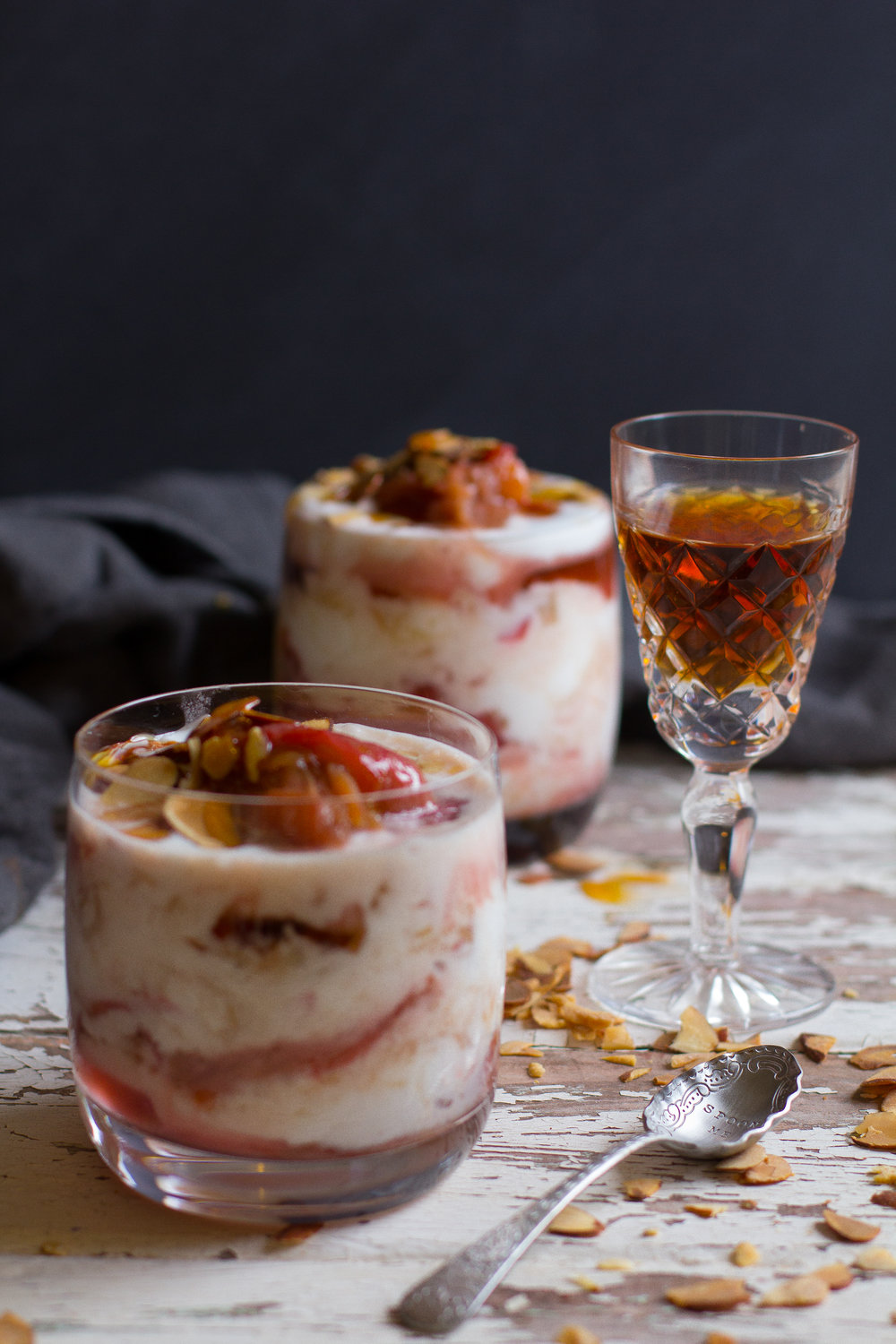Roasted rhubarb, laced with amaretto, and folded through coconut yogurt. A delicious spring dessert.