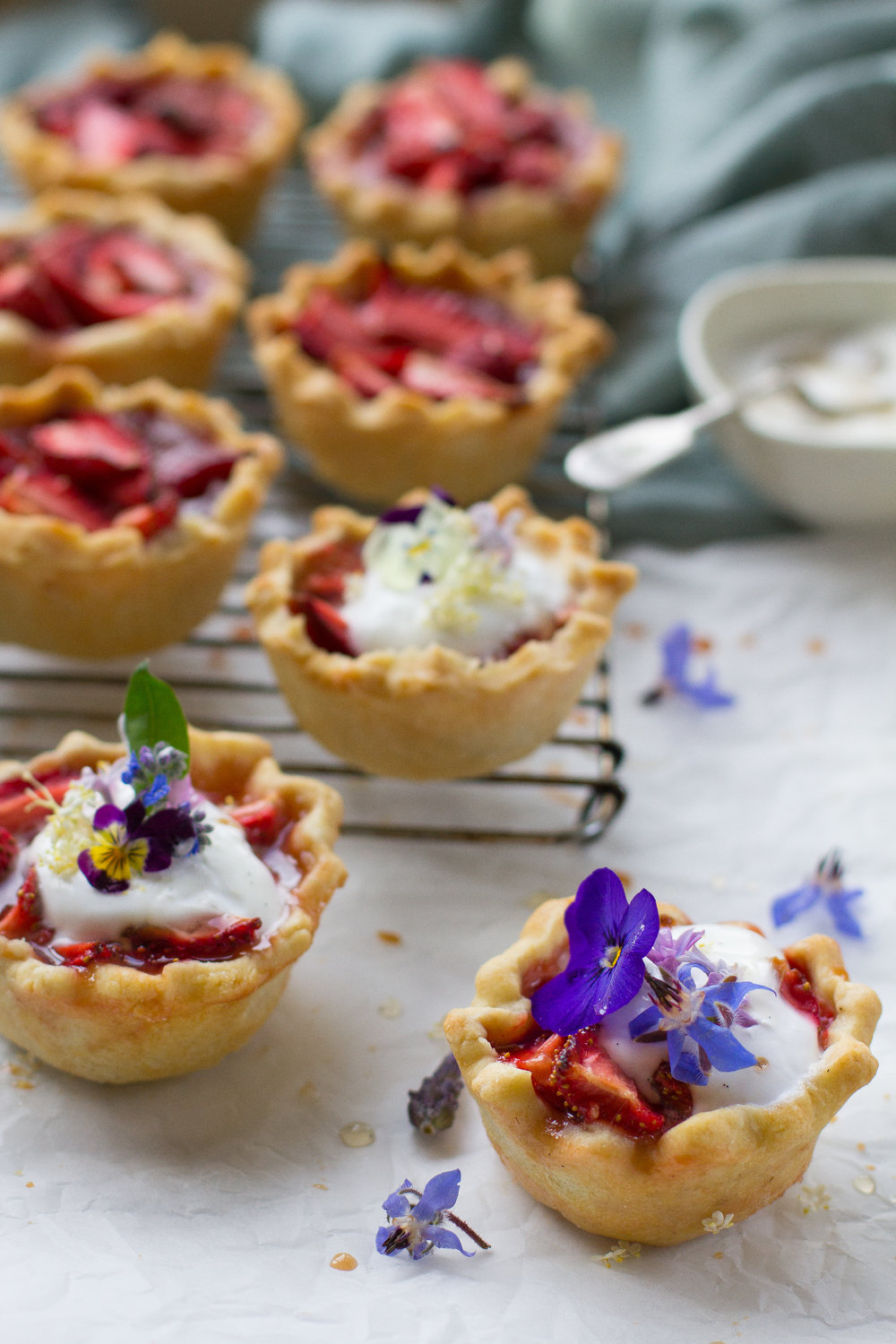 Strawberry and balsamic tarts. Dairy free and vegan, these are a crowd pleasing way to finish a special meal, or a beautiful flourish for your next potluck