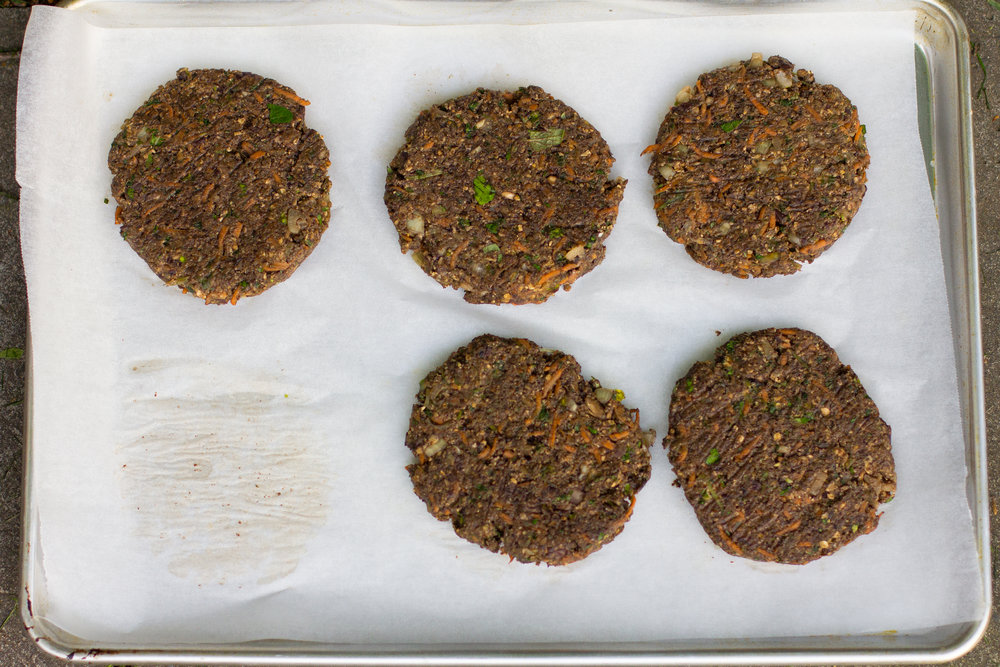 My perfect burger patties - packed full of mushroom, blackens and oats, these won't fall apart on the grill