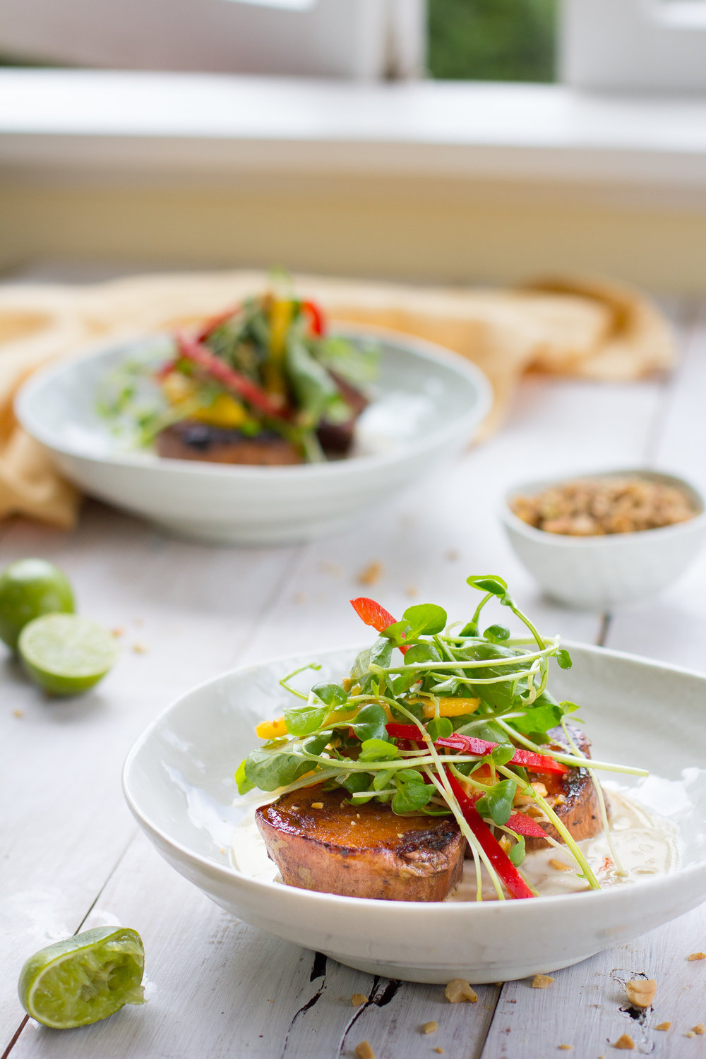 Caramelised sweet potato in a fragrant asian broth, topped with a fresh mango and kaffir lime salad. A perfect vegan option for a special occasion