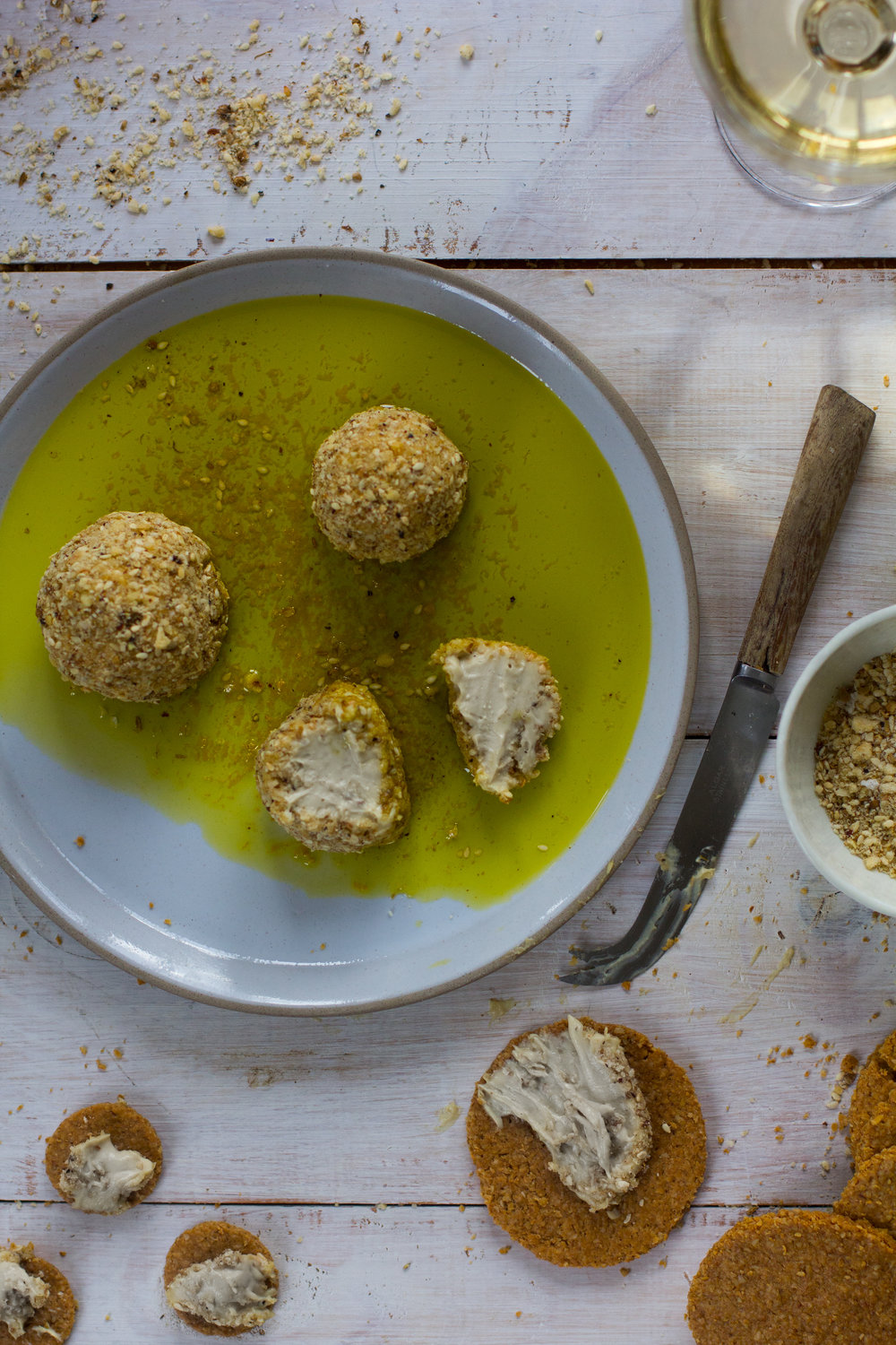Toasty, spicy dukkah, lemony olive oil, and a creamy cashew cheese here combine to create a perfect trifecta of snacking goodness.