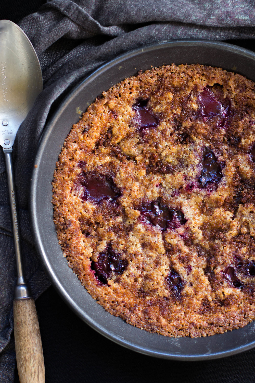 Gooey deposits of concentrated roasted plum, nestled amongst a nutty, buttery cake.