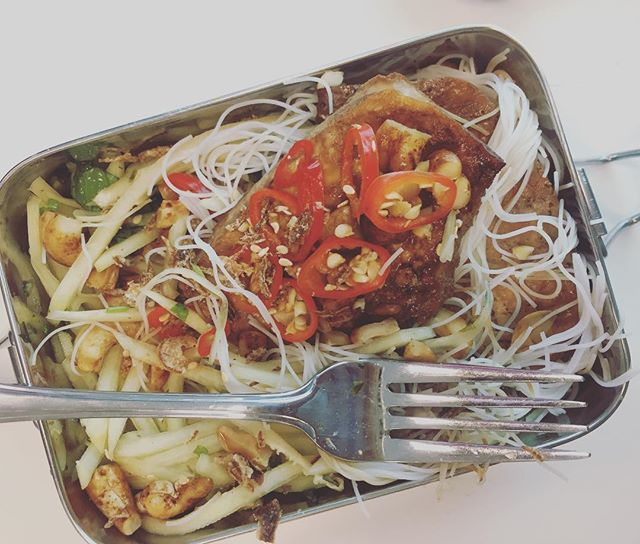 Midwinter green papaya salad? Hell yes! This one with teriyaki tofu steaks and vermicelli noodles. Perfect leftover lunch!  #packedlunch #healthyfood #vegannz #vegan #glutenfreevegan