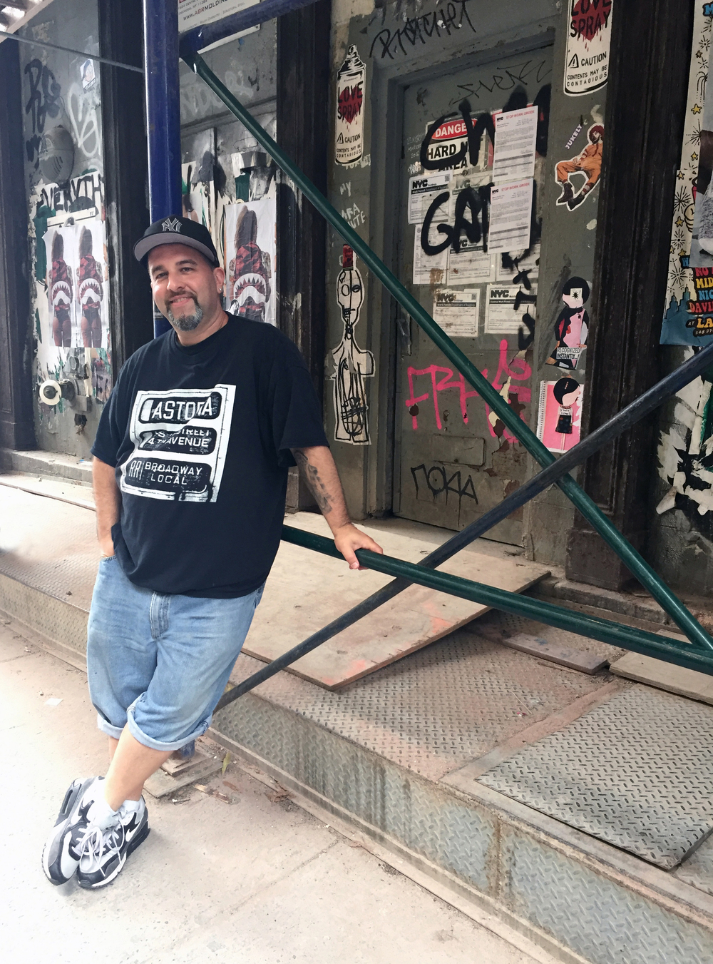 Phil LeBloas, owner and tour director, NYC Urban Art Tours Location: Greene Street, Soho NYC Photographer: Christine Shaffer