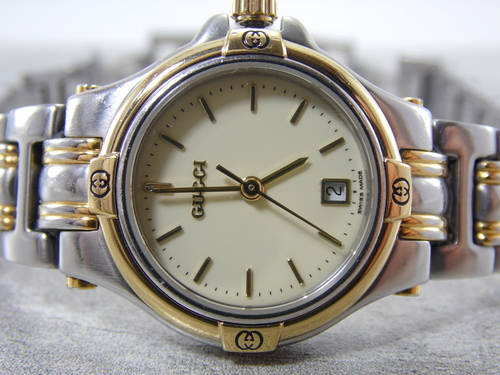 0722cacdd29 Real Authentic Gucci 9040L Two Tone Gold-tone   Stainless Steel White Dial  with Date Calendar Ladies Womens Swiss Made Watch. SAM 4218.JPG