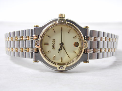 234aa2d4578 Vintage Womens Authentic Gucci 9000L Two Tone 18K Gold   Stainless Steel  Calendar Date Swiss Made Watch Timepiece ETA 956.112 — New Avenue