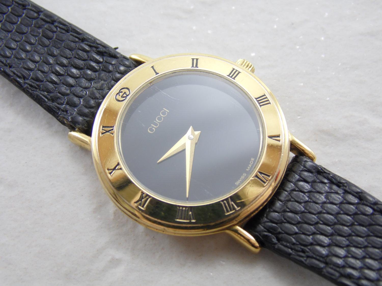 546eb6c24ff Vintage Real Authentic Gucci 3000.2.L Womens Ladies Roman Numeral Bezel  Black   Gold Dial Adjustable 10mm Leather Strap Swiss Watch ETA 980.003