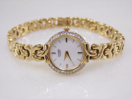Elegant Vintage Womens Citizen Mother of Pearl Dial Simulated Diamond Bezel  Gold Quartz Watch 5920E. SAM 9088.JPG 393609679e