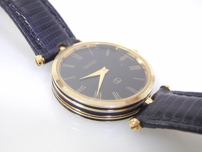 442f40e994b Vintage Black   Gold Authentic Gucci 4.86 Mens Womens Unisex Roman Numeral  Stack Swiss Luxury Designer Quartz Watch ETA 561.001