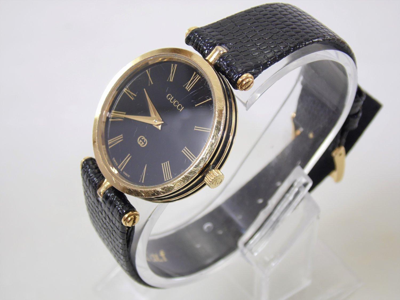 cc432856936 Vintage Black   Gold Authentic Gucci Mens Womens Unisex Stack Luxury  Designer Roman Numeral Swiss Quartz Watch w Box ETA 561.001