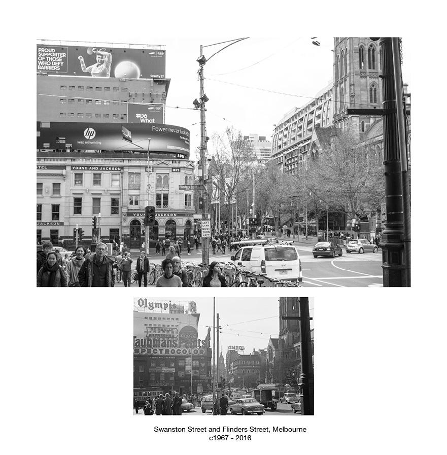Swanston Street and Flinders Street, Melbourne c.1967 - 2016.jpg