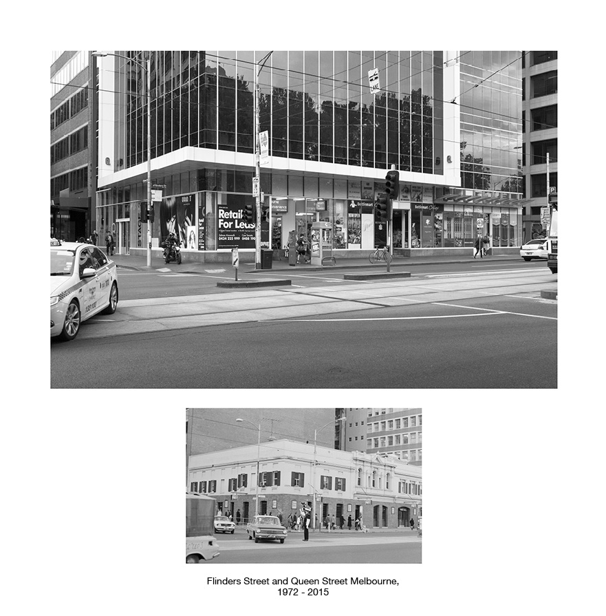 Flinders Street and Queen Street, Melbourne, c1972 - 2016.jpg