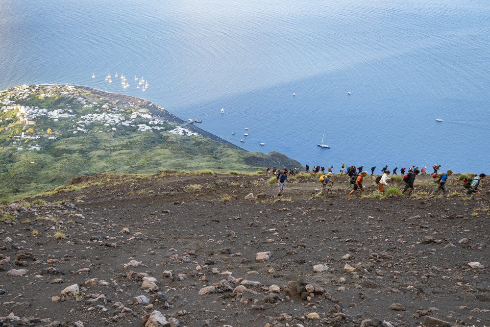 Hikers on Stromboli volcano