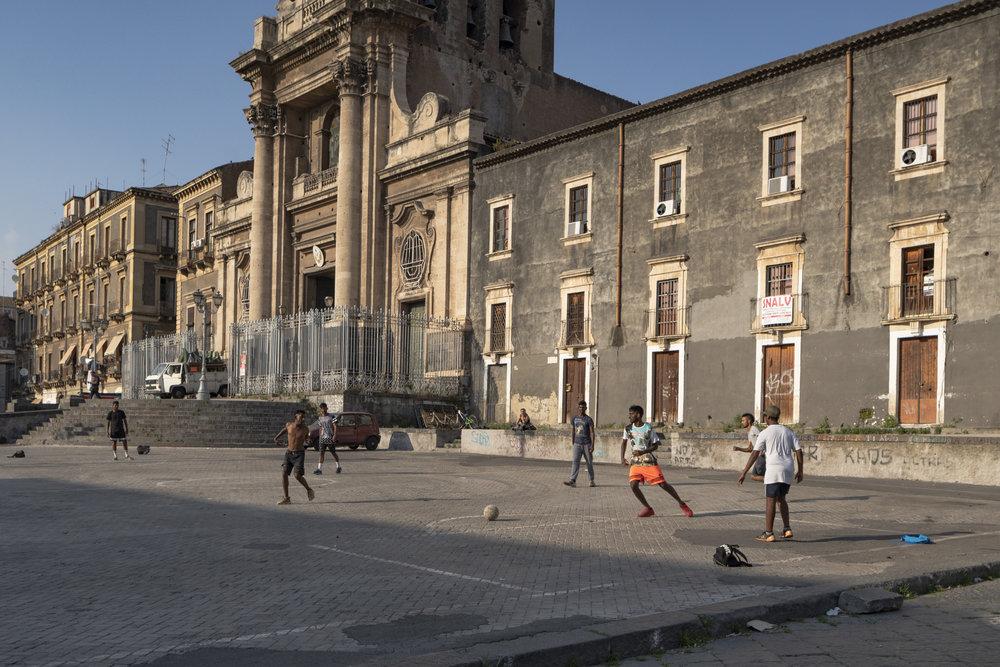 Soccer match, Piazza Carlo Alberto di Savoia, Catania