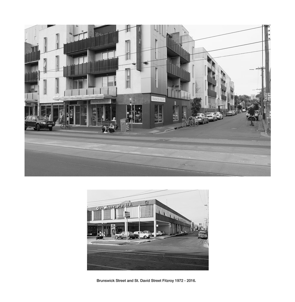 Brunswick Street and St. David Street Fitzroy 1972 - 2016.