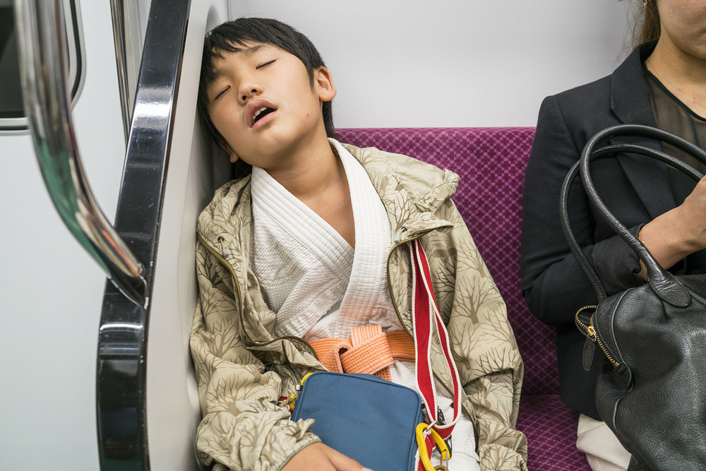 Karate kid on the train from Kyoto
