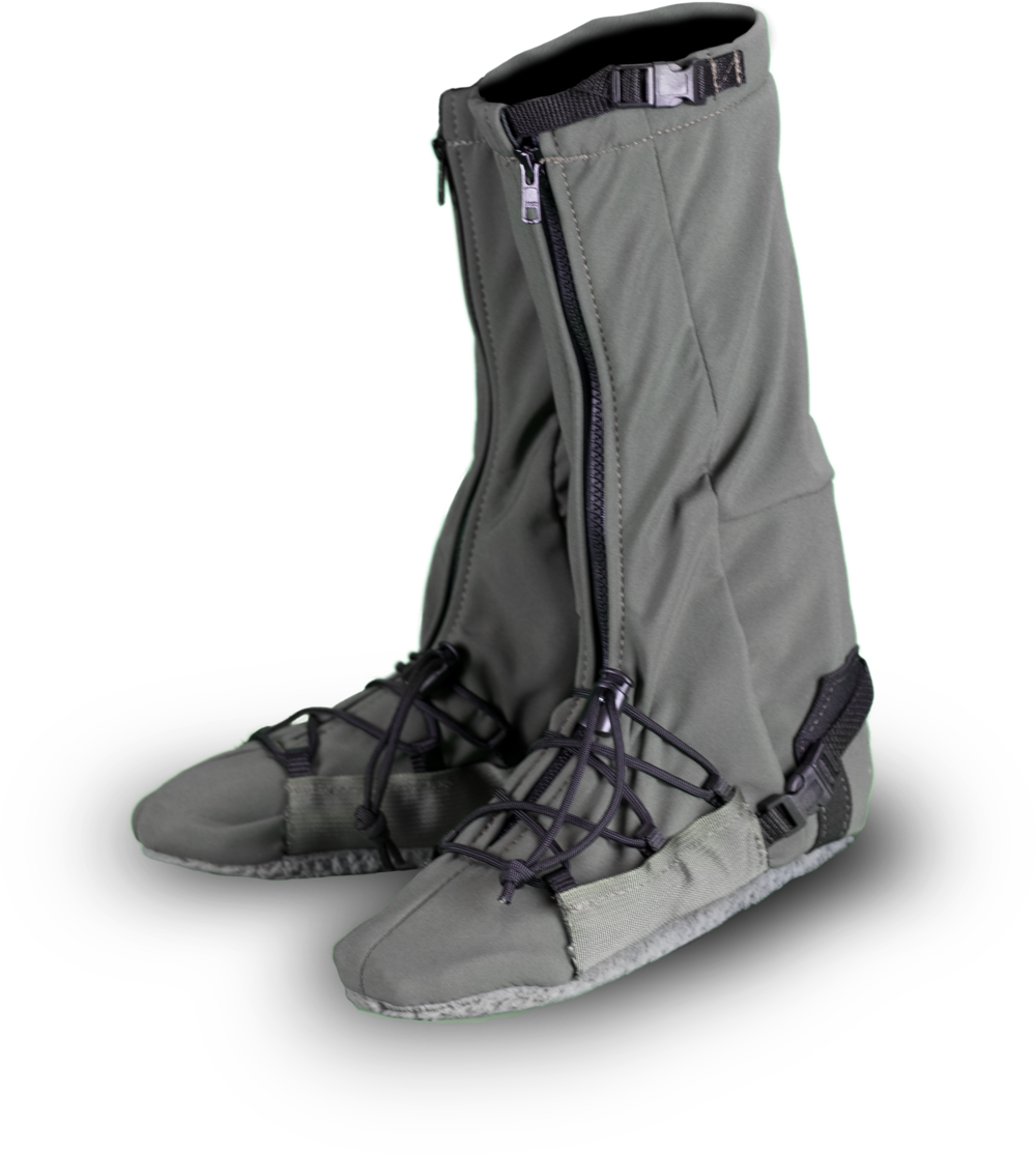 Other information:  - Keep in mind, these stalkers are not water proof. The material is water resistant. They do not do well in mud. They can be used in cold crunchy snow for a short period of time.These stalkers are not insulated.They are meant to be worn tight. Make sure you adjust all laces and cinching. They are designed to be worn over your socks, not over boots.