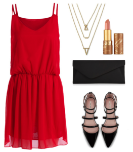 Dress  |    Shoes  |    Clutch  |    Necklace  |    Lipstick