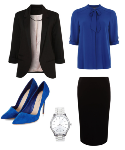 Blazer   |   Top   |   Skirt   |   Shoes   |   Watch