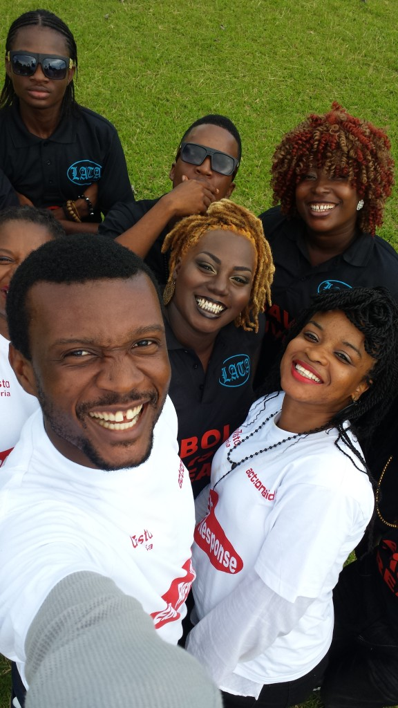 Christal (at right) with some of her ActionAid Liberia coworkers.