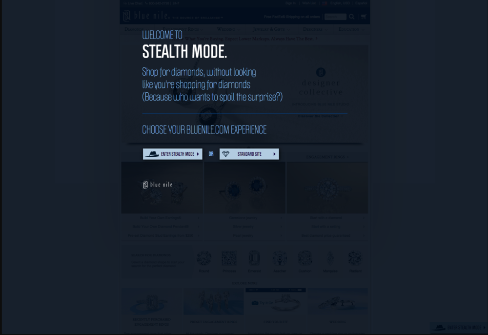 The website let's you customize your Stealth Mode to disguise your site as three different online experiences that look like men's interest sties.