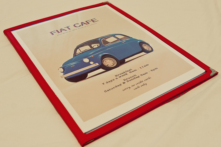 Menu cover layout and design for Fiat Cafe.