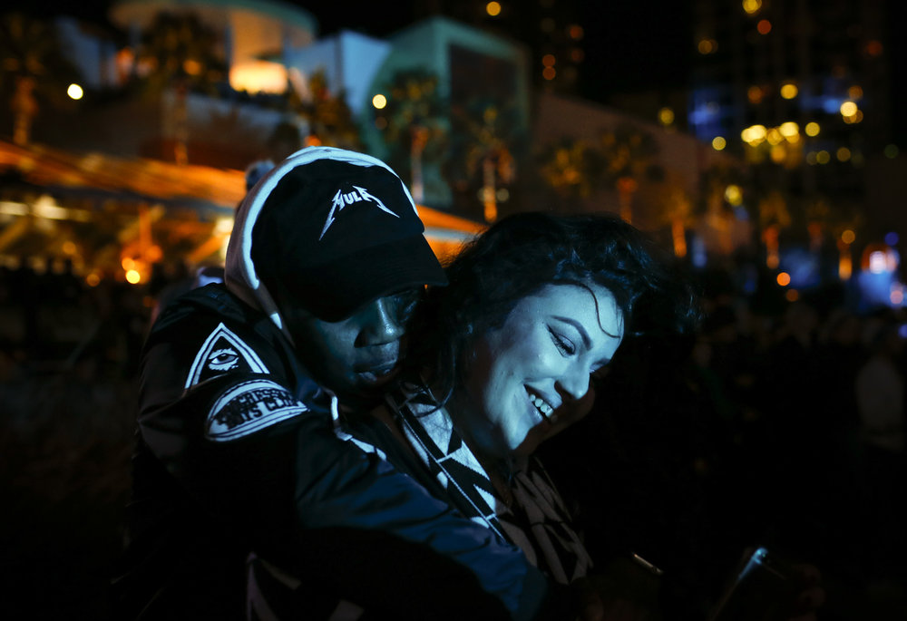Fans enjoy a performance by Usher at the Playoff Playlist Live event at the Curtis Hixon Park in Tampa, Fla., on Sunday, January 8, 2017. Part of the lead up to the national football championship game, this free outdoor concert series featured a variety of national recording artists who performed in the waterfront park.