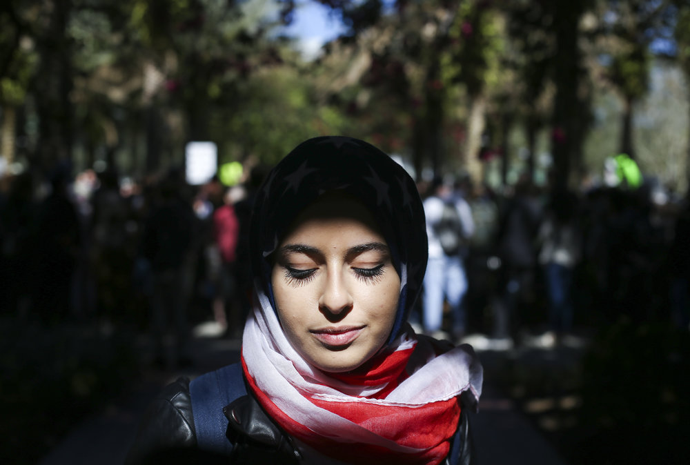"Sarah Eldin, 19, poses for a portrait at the University of Southern Florida in Tampa, Fla., Monday, January 30, 2017. ""Everyday we're a symbol of what's at hand right now,"" she said. Concerned students gathered for a protest against an executive order Donald Trump signed calling for a travel ban against several Muslim-majority countries, North Korea and Venezuela."