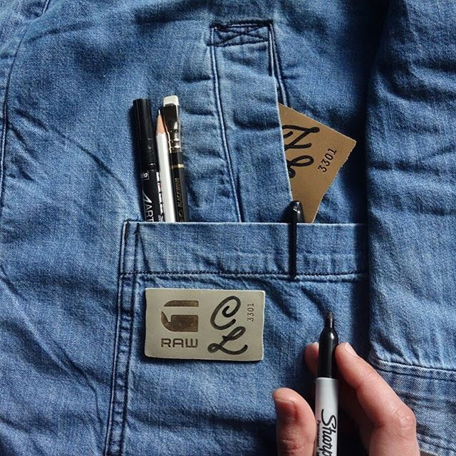 As part of Vouge Fashion Night Out @gstarraw_au is offering custom labels lettered by yours truly with each purchase 🖌 You can find us at David Jones Bourke St from 5-9pm tonight! #VFNO #VAEFNO
