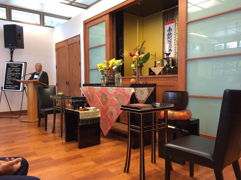 Rev. Nakamoto giving his Hatsubon message (July 2015)
