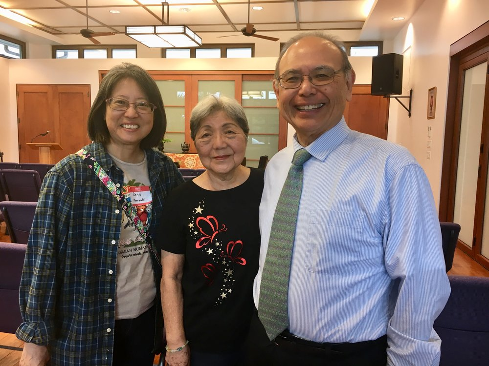 Dayle Kuniyuki, friend Grace, and Rev. Kevin Kuniyuki