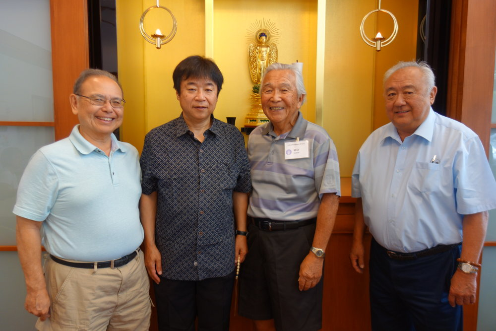 Rev. Noriaki Sumi visited us today. Rev. Sumi was Kailua Hongwanji's minister from 1985 to 1987. From left to right: Rev. Kuniyuki, Rev. Sumi, Keiji Kukino, Rev. Sumikawa
