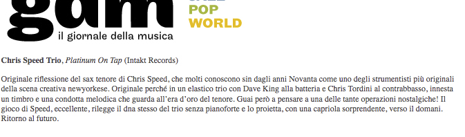 Enrico Bettinello, Giornaledellamusica (Italy)
