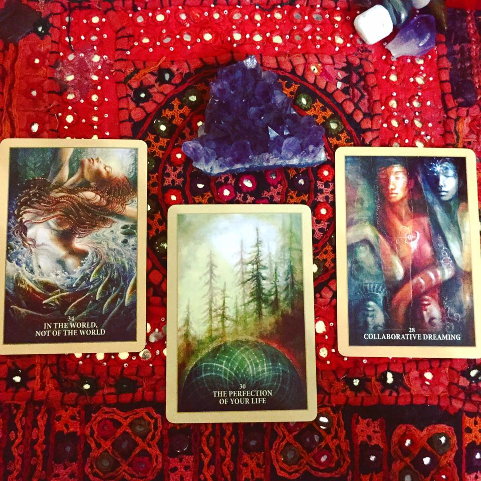 Miki's three oracle cards from the Sacred Rebels Oracle deck by Alana Fairchild