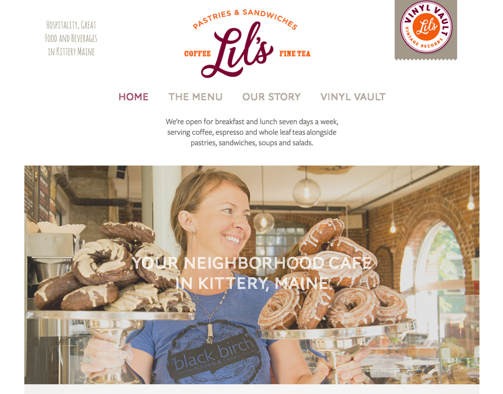 Lil's Cafe homepage after
