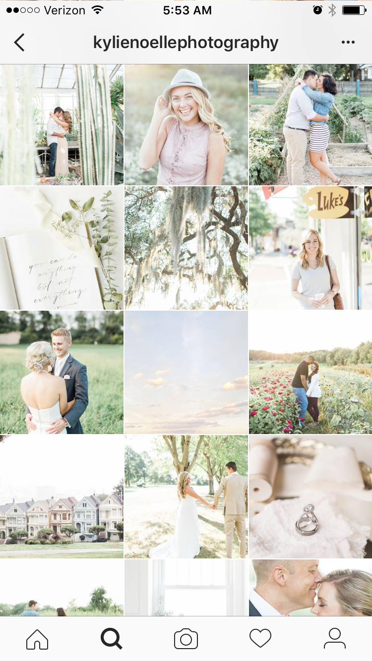@kylienoellephotography is more set back from her subjects as a rule, and has a color palette that favors pastels.