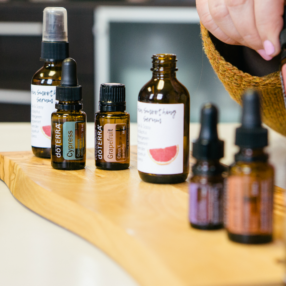 "Sample caption: ""Perk of being a doTERRA representative: I get to experiment with oils to create my own cleaning solutions, serums, and diffuser blends!"" 