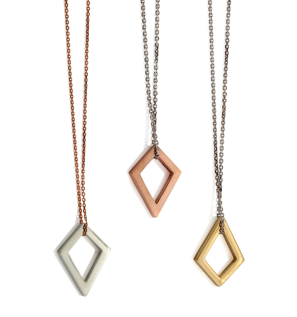 Emma Farquharson Diamond shaped gold pendants crop, RRP from £225, Juliet Sheath.jpg