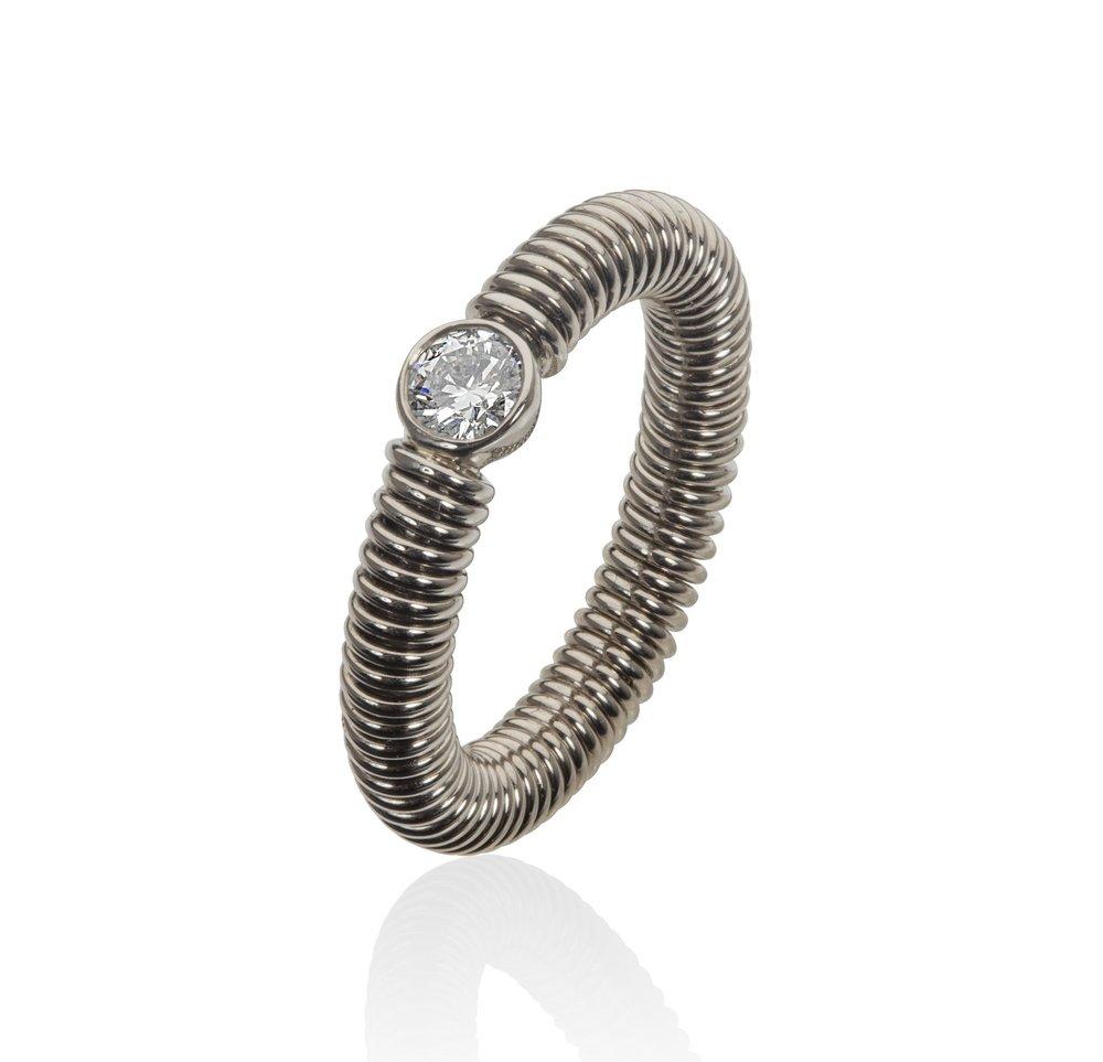White gold diamond spun ring