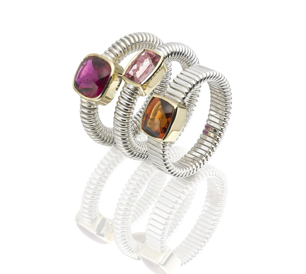 Silver and 18ct gold Spun gem rings