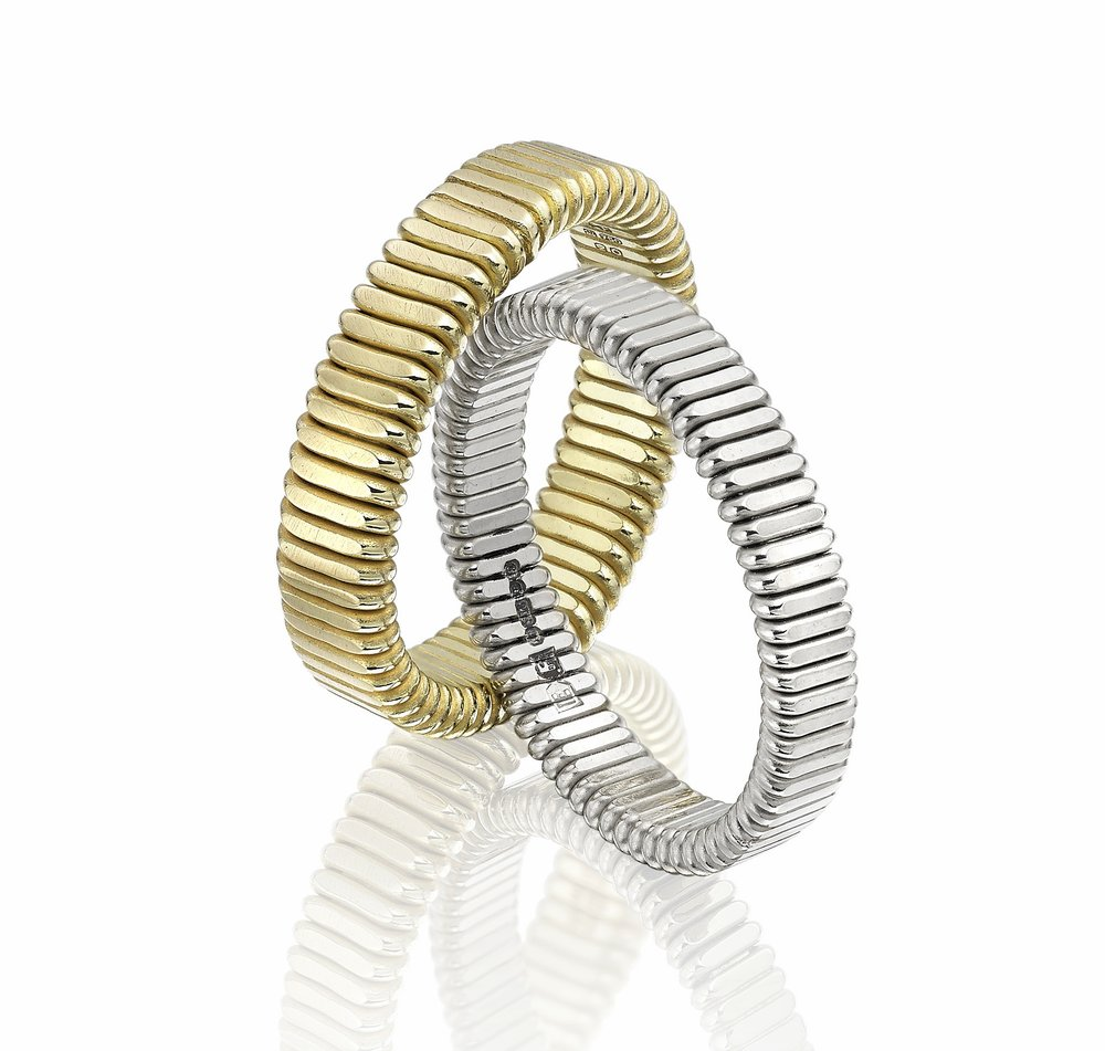 18ct gold flat Spun rings