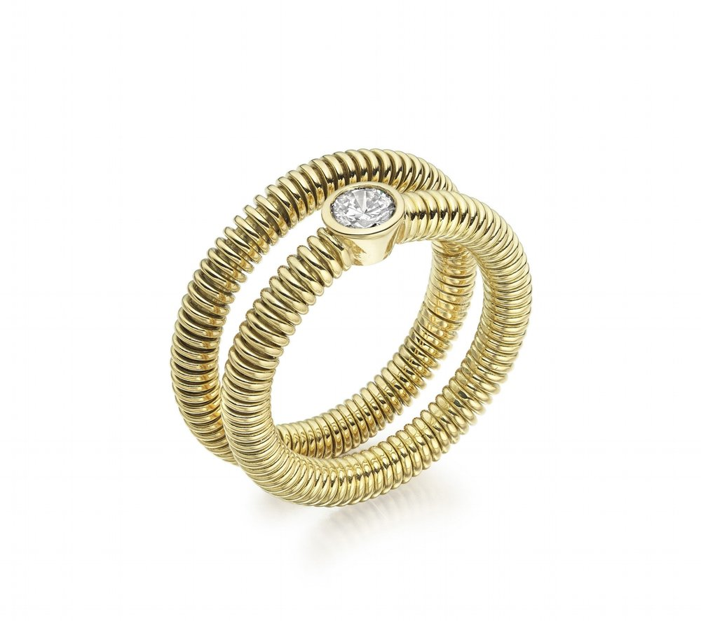 18ct yellow gold round Spun rings with brilliant diamond