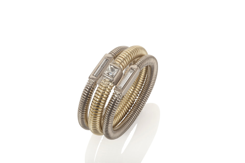 Colleen's special 18ct gold and needle diamond Spun rings