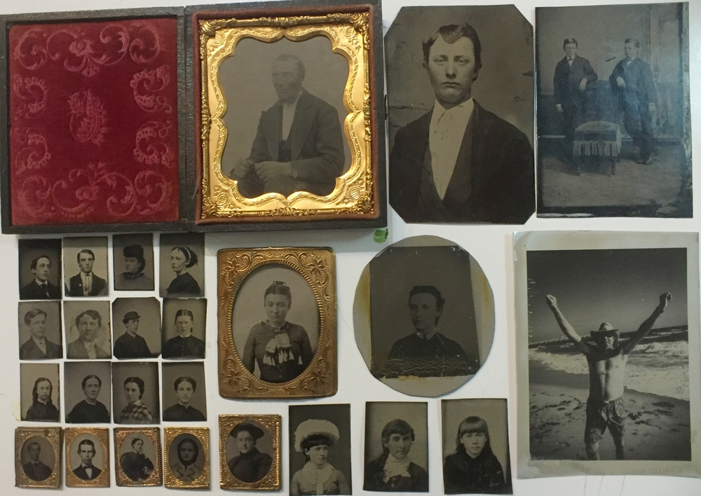 Small collection of my vintage tintypes and 2 made with the DASS™ system on aluminum plate..  the far right picture of Richard and the oval with a square image. The tinted WonderSauces are very friendly with the colors of the 1850 something tins.CE