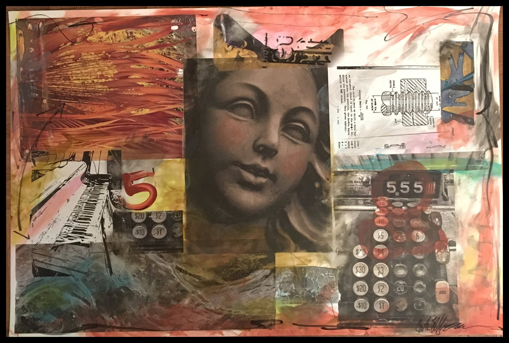 "Statue of Five, pigment image transfers, mixed media, 20x30"" on stone paper. 2.20.17 CE"