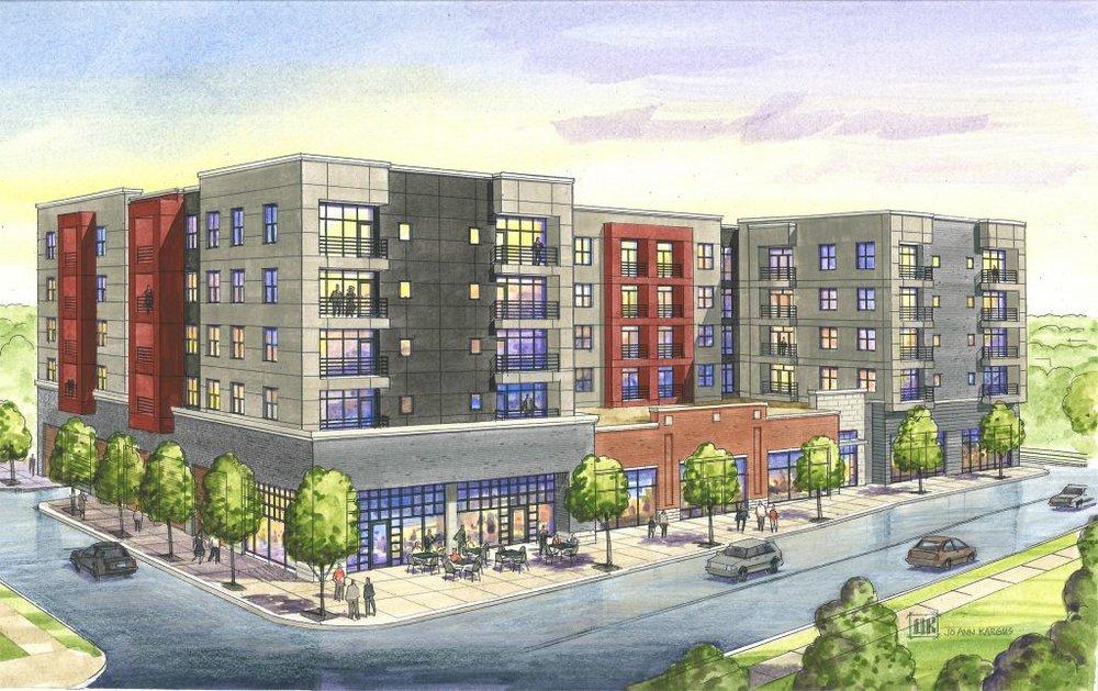 "Developer rendering for ""Hibernia"" at 6300 Clayton Avenue"