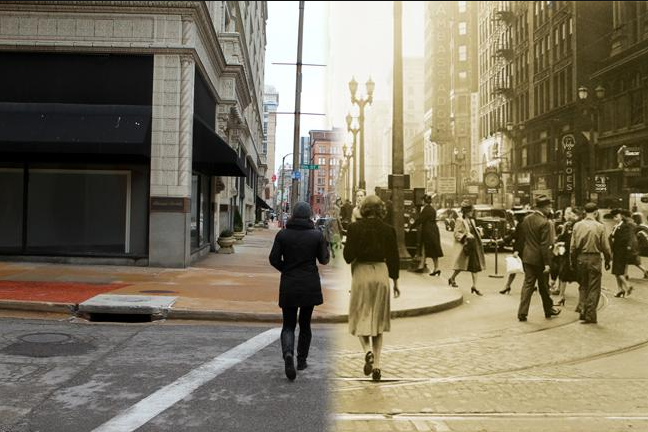 6th and Locust - 2014 on the left, 1940 on the right - St. Louis Public Radio